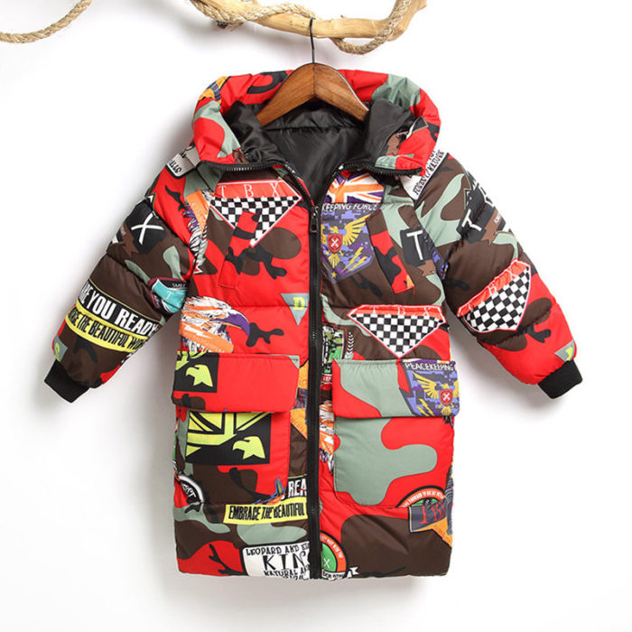Girl's and Boy's Cartoon Print Winter Thicken Warm Hooded Down Jackets For 3-13Y