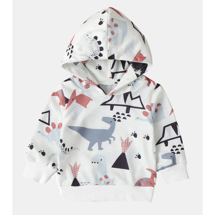 Girl's and Boy's Dinosaur Cartoon Print Long Sleeves Casual Hoodies For 1-7Y