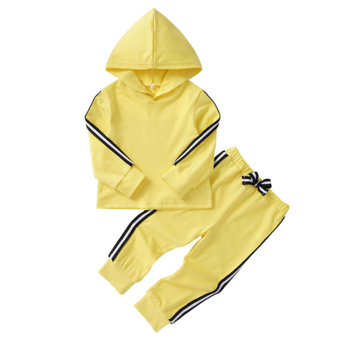 Girl's and Boy's Hooded Striped Casual Long Sleeves Set For 1-7Y
