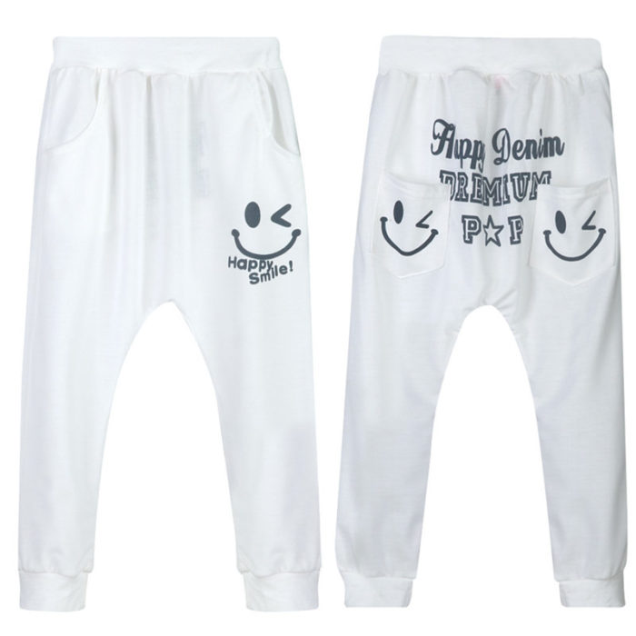 Girl's and Boy's Smile Face Print Casual Pants For 2-9Y