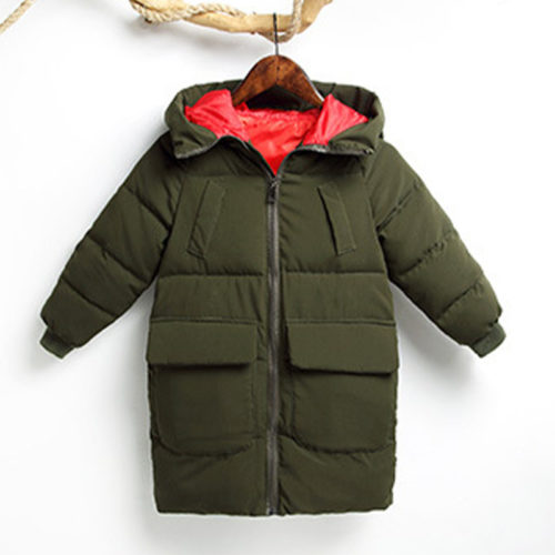 Girl's and Boy's Solid Color Winter Thicken Warm Hooded Down Jackets For 4-13Y