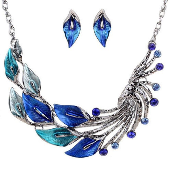 Gradient Color Leaf Peacock Enamel Crystal Necklace Dangle Earrings Jewelry Sets for Women