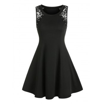 Grommet Sleeveless Mini Dress
