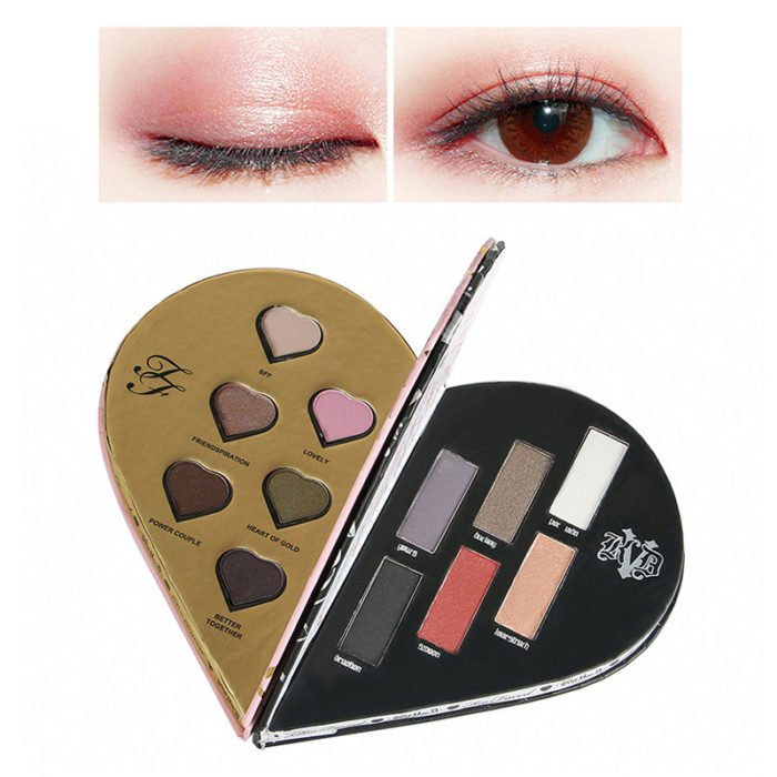 Heart Shape Eyeshadow Palette Shimmer Glitter Eye Shadow Long-Lasting Eyeshadow Eye Cosmetic