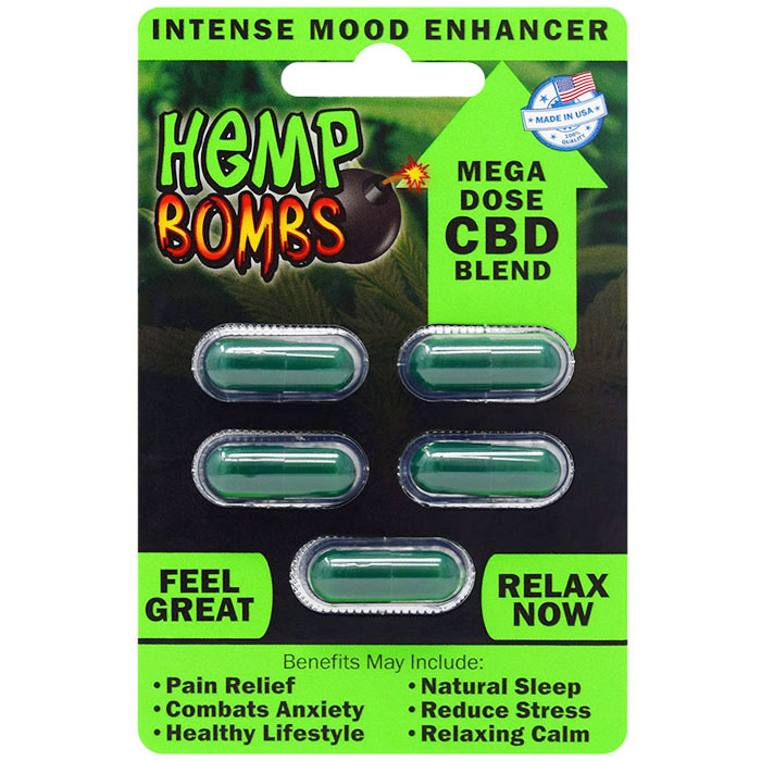 Hemp Bombs CBD Capsules, Intense Mood Enhancer, 5 Capsules