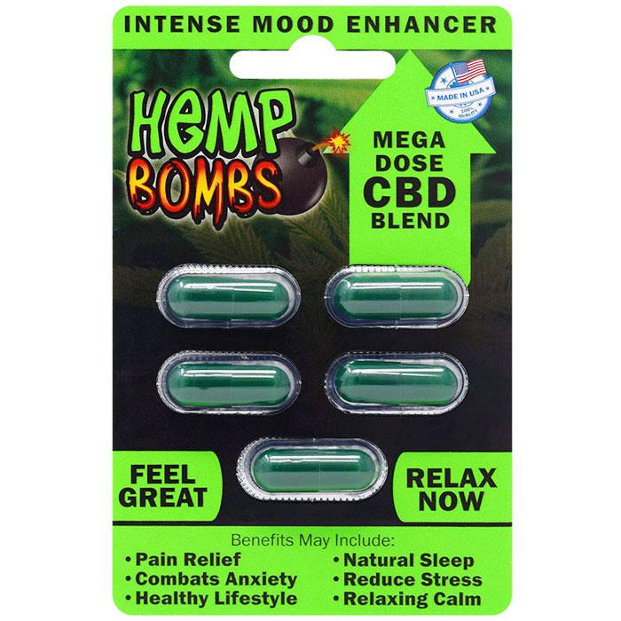 Hemp Bombs CBD Capsules, Intense Mood Enhancer, 5 Capsules