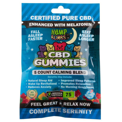 Hemp Bombs CBD Sleep Gummies, Enhanced with Melatonin, 5 Count