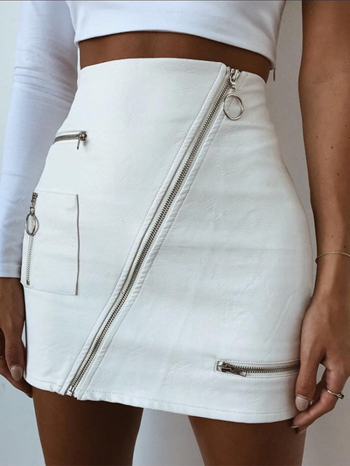 High PU Leather Solid Color Sexy Skirt For Women