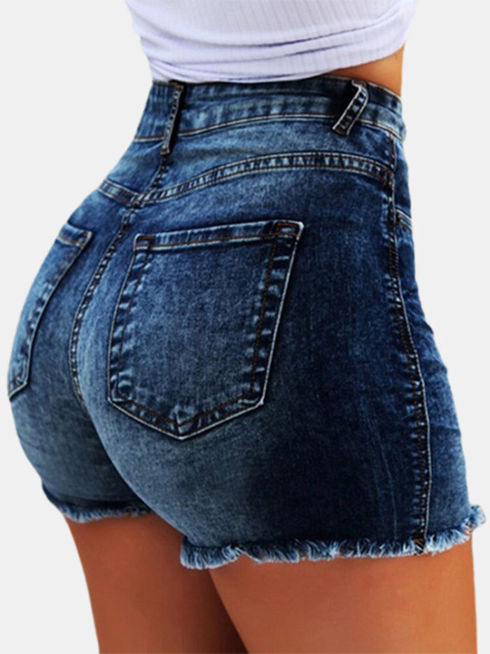 High Waist Tight Tassels Ripped Short Jeans