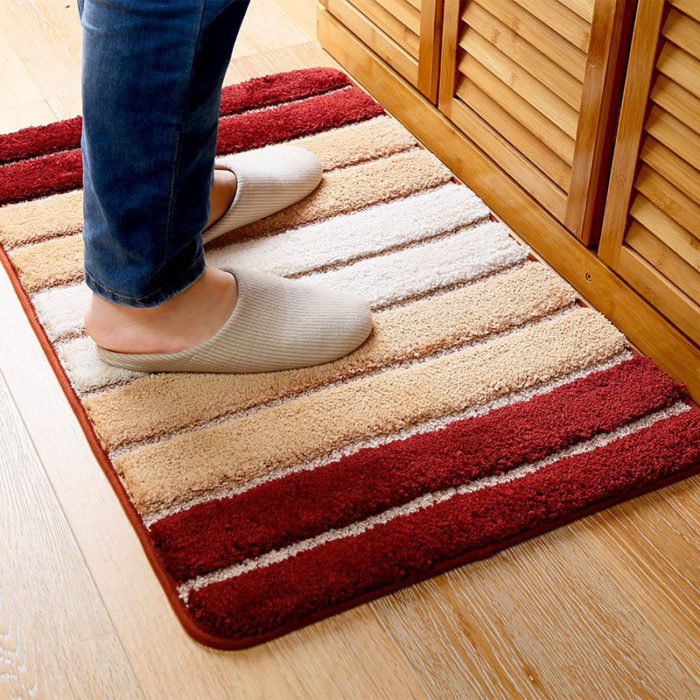 Honana MT-815 50x80cm Modern Minimalist Mat Anti-Skid Gradient Stripe Rugs Carpet Home Bathroom Mat