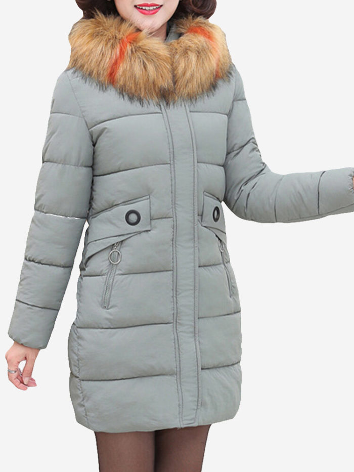 Hooded Fur Collar Thicken Warm Coat
