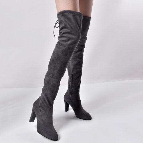 Hot Sale Suede Over Knee Block Heel Boots