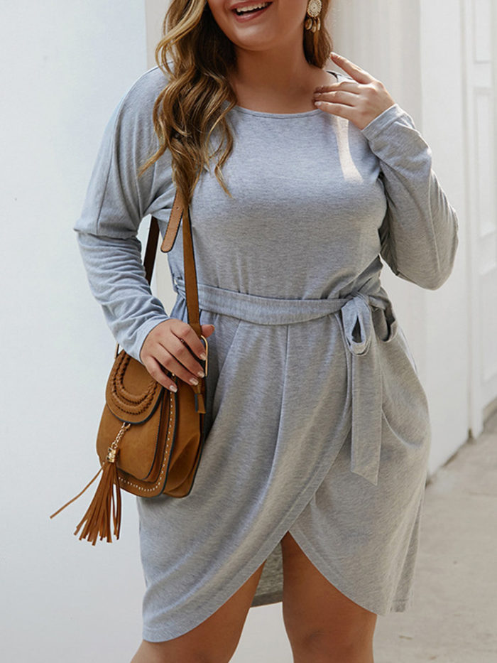 Irregular Crewneck Long Sleeve Plus Size Dress with Belt