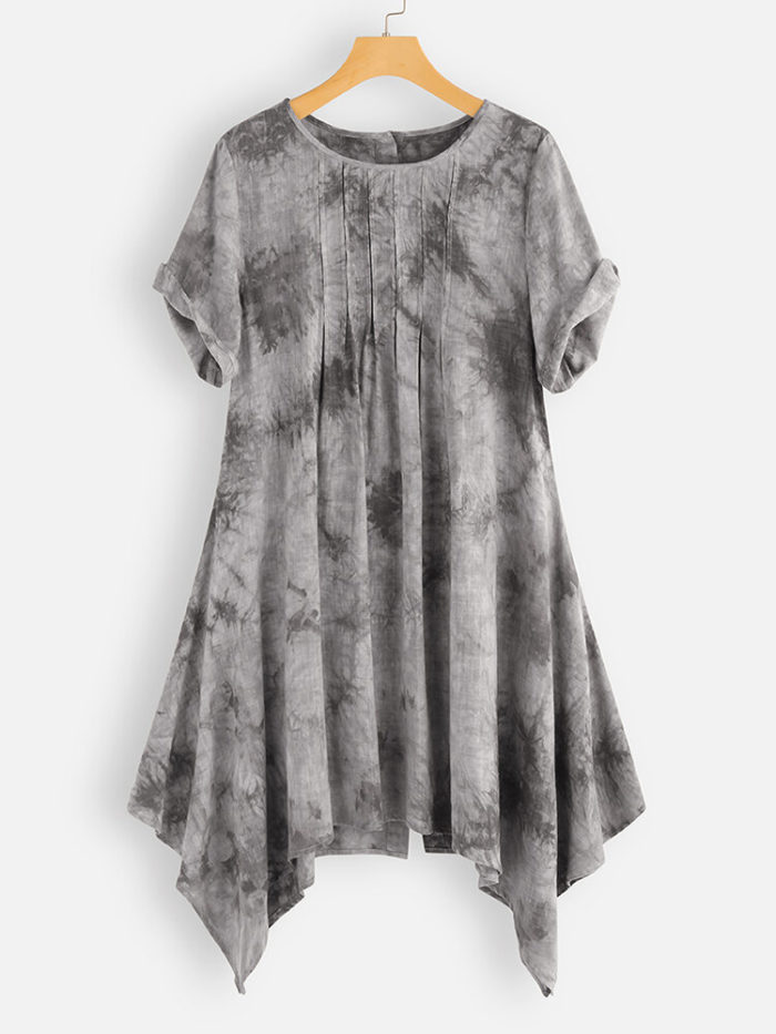 Irregular Pleated Tie-dyed Short Sleeve Blouse For Women