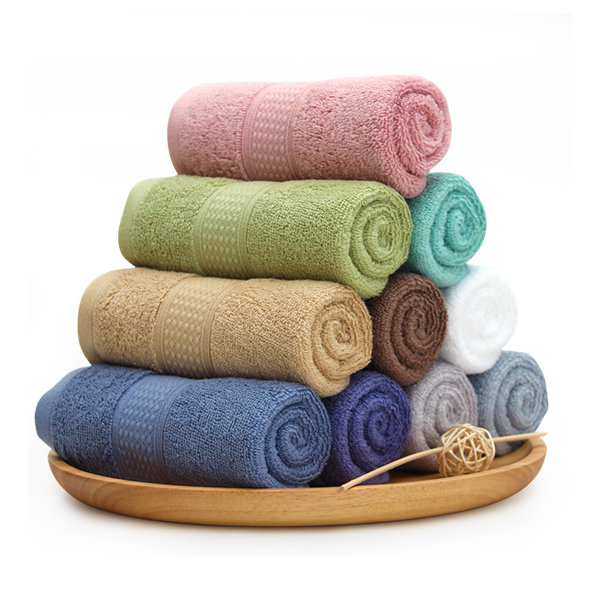 Home -KCASA Pure Color Bath Towels Long Stapled Cotton Beach Spa Thicken Super Absorbent Towel Sets