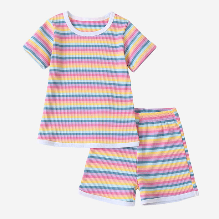 Kid's Colorful Striped Print Short Sleeves Casual Clothing Set For 2-8Y