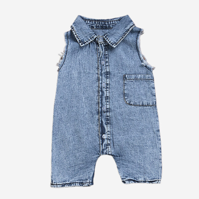 Kid's Denim Sleeveless Casual Jumpsuit For 1-7Y