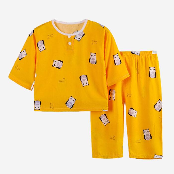 Kid's Fruit Animal Print Thin Three Quarter Sleeves Pajama Set For 1-11Y