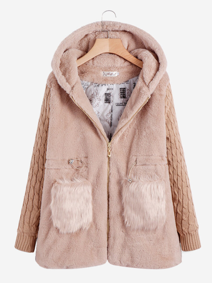 Knit Patchwork Long Sleeve Fall Winter Casual Hooded Coat