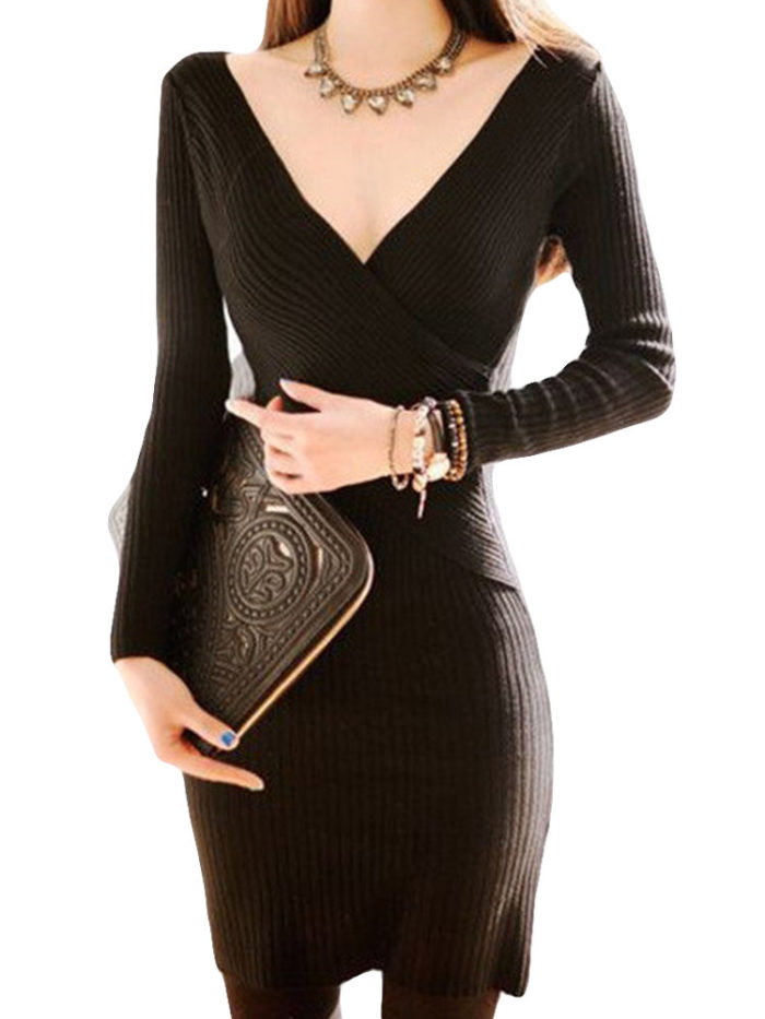 Knit Slim V-neck Long Sleeve Bodycon Dress