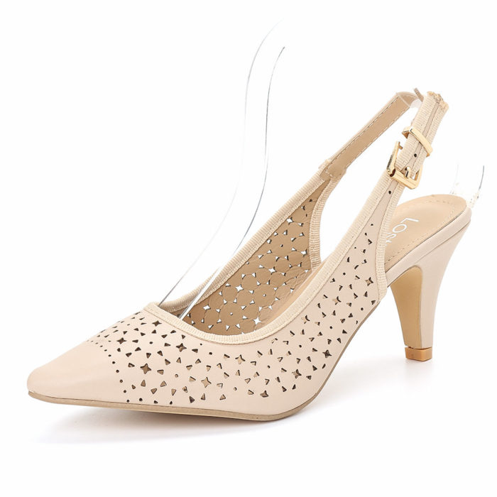 LOSTISY Women Casual Breathable Hollow Pointed Toe Buckle High Heel Lady Sandals