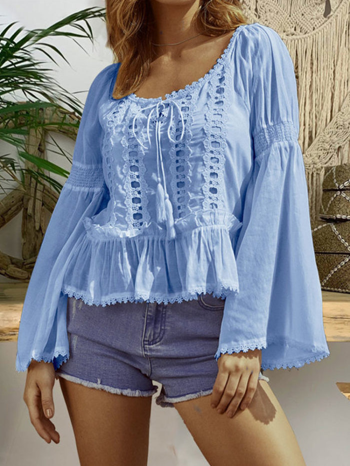 Lace Patchwork Flare Sleeve Plus Size Blouse