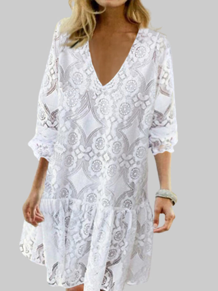 Lace Patchwork V-neck Plus Size Dress for Women