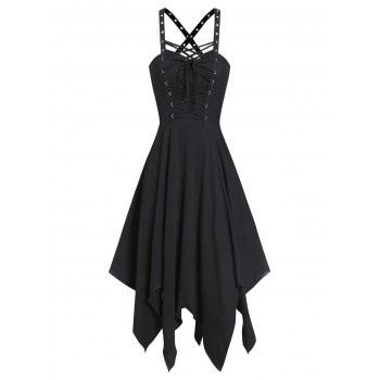 Lace up Front Handkerchief Dress
