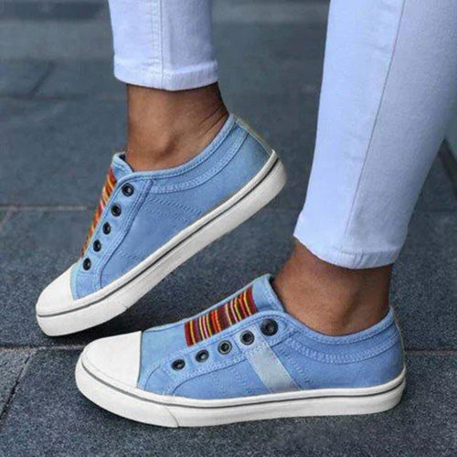 Large Size Women Casual Canvas Vulcanized Slip On Flat Shoes