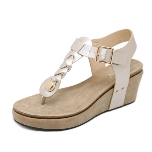 Large Size Women Comfortable Soft Buckle Clip Toe Wedges Heel Sandals