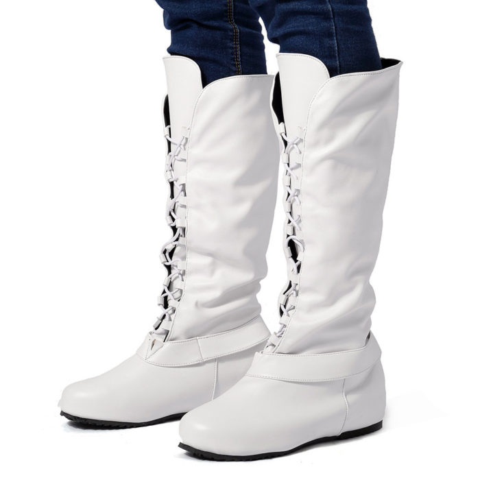 Large Size Women Comfy Knee Length Increasing Lace Up Riding Boots
