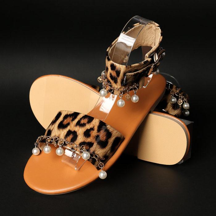 Large Size Women Open Toe Leopard Beading Buckle Sandals
