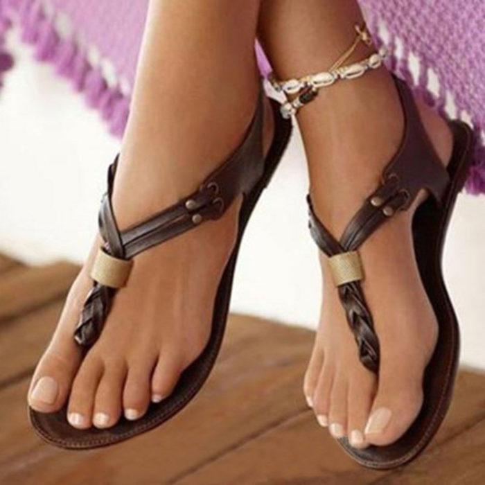 Large Size Women Retro Beach Slip On Flip Flops Flat Sandals