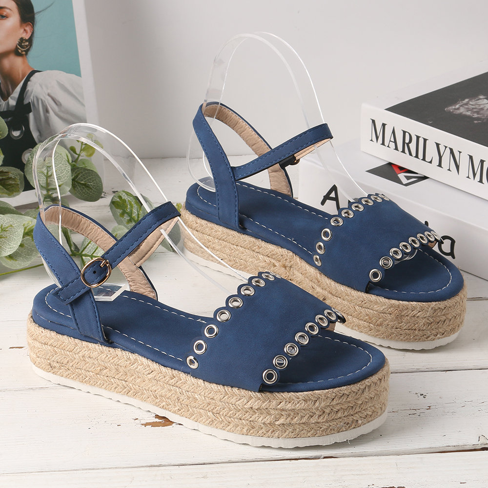 Footwear Large Size Women Summer Solid Color Open Toe Buckle Platform Sandals