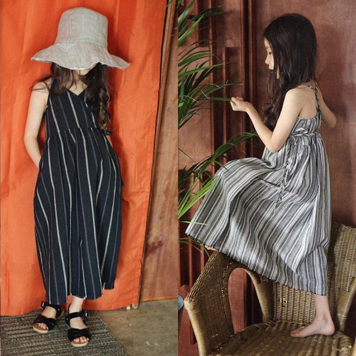 Leisure Girls Kids Striped Sleeveless Vintage Casual Dresses For 3Y-13Y