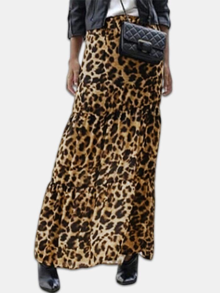 Leopard Print Elastic Waist Plus Size Maxi Skirt