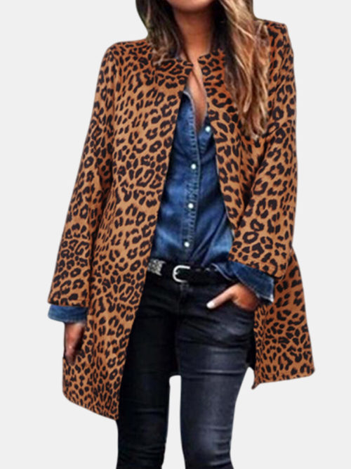 Leopard Print Long Sleeve Casual Plus Size Jacket