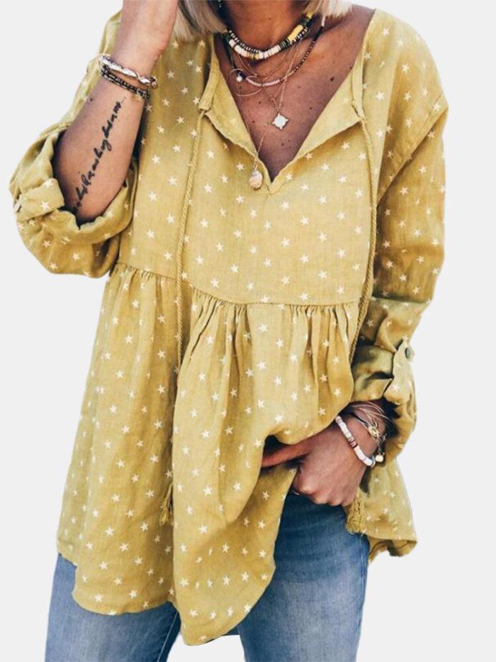 Long Sleeve Stars Print Bandage V-neck Blouse For Women