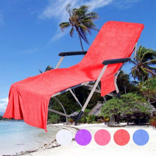 Lounge Chair Beach Towel Cover with Side Storage Pockets Microfiber Lightweight Beach Pool Chair Cover Towel for Sunbath