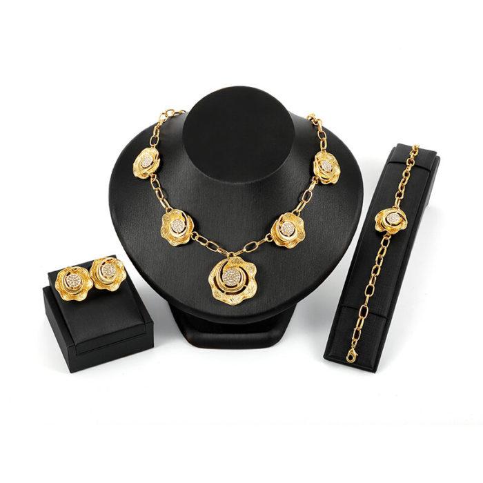 Luxury Bridal Jewelry Sets Rhinestones 18K Gold Flower Charm Necklaces Earrings Jewelry for Women