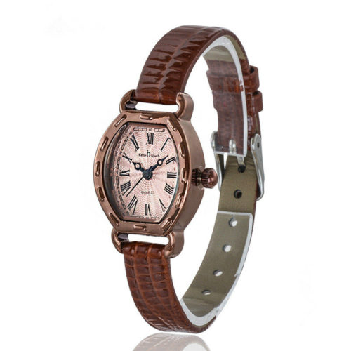 Luxury Genuine Leather Womens Watches Vintage Oval Dial Roman Numerals Waterproof Quartz Watches