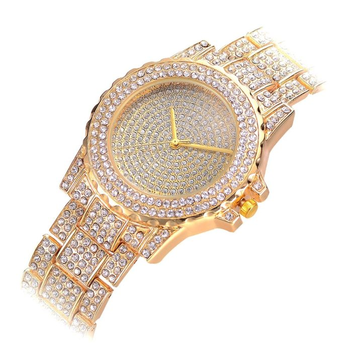 Luxury Womens Full Rhinestone Diamond Watches Lady Dress Accessory Silver Rose Gold Watch for Women