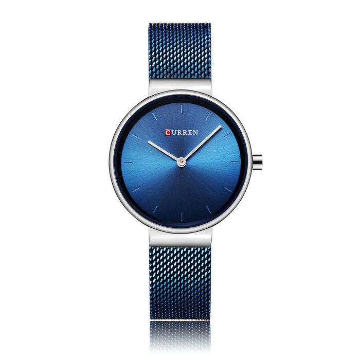 Luxury Womens Quartz Watches Minimalist Laser Dial Ultra Thin Stainless Steel Mesh Wristwatches