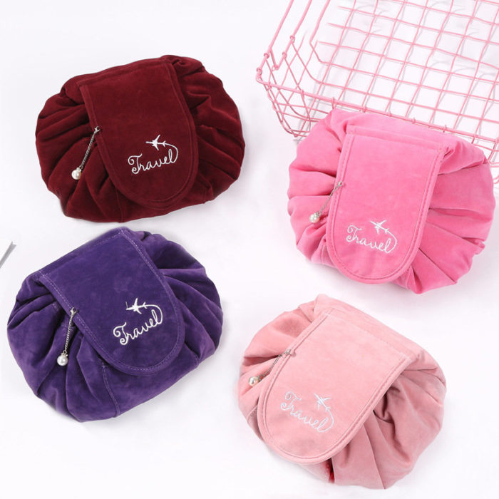 Makeup Bag Lazy Big Capacity Cosmetic Bag Flannel Drawstring Travel Makeup Storage Bag