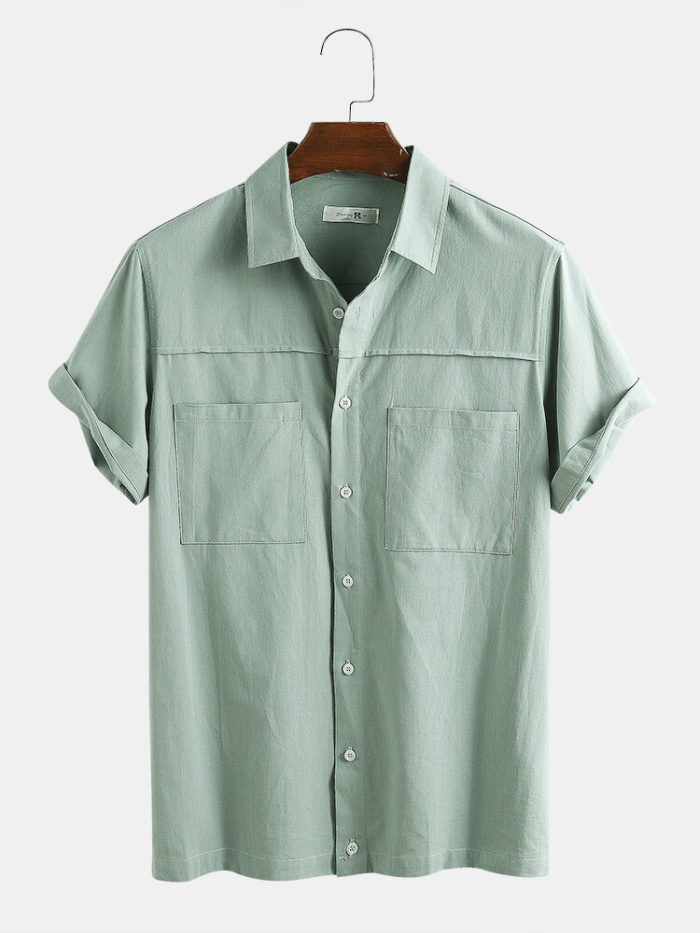 Men 100% Cotton Solid Color Double Pocket Holiday Casual Shirt