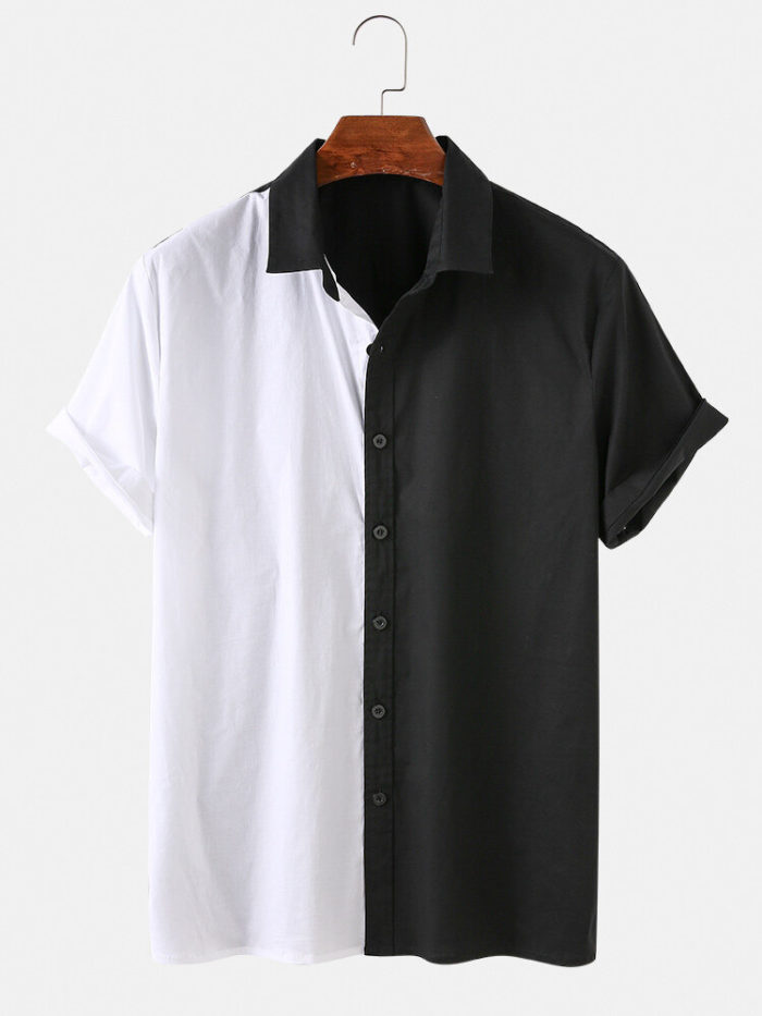 Men Asymmetric Black & White Stitching Casual Short-sleeved Shirt