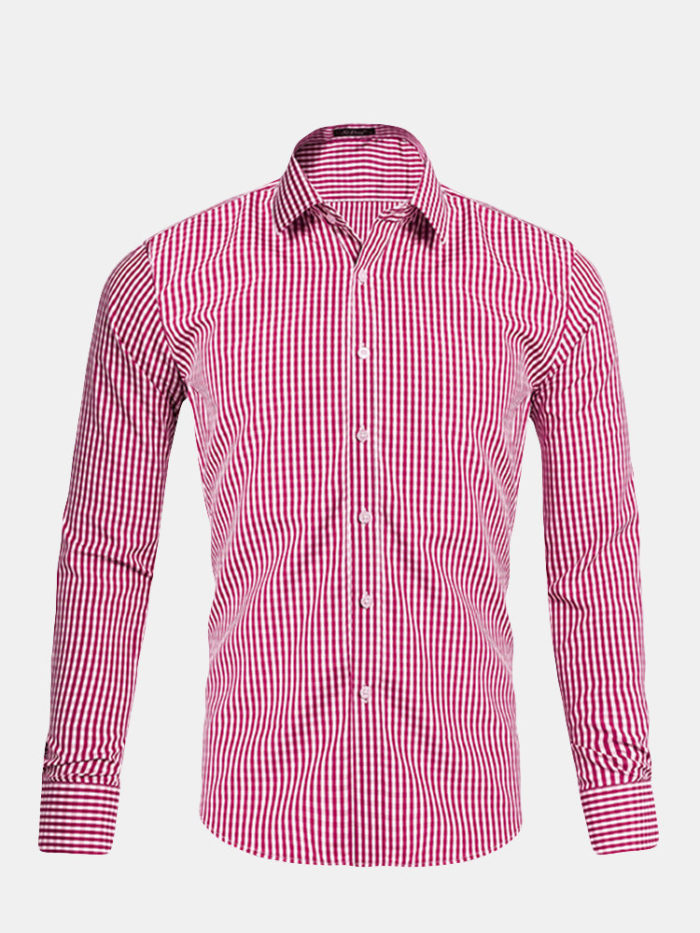Men Casual Plaid Single Breasted Long Sleeve Shirts
