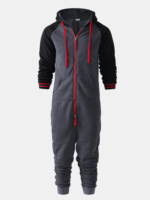 Men Contrast Color Onesies Loungewear Cotton Thicken Dark Gray Hipster Zip Hooded Jumpsuit Pajamas