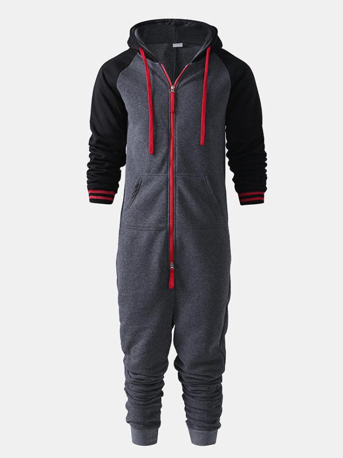 Men Contrast Color Onesies Loungewear Cotton Thicken Dark Gray Hipster Zip Hooded Jumpsuit Pajamas