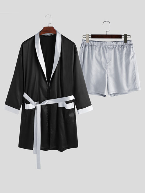 Men Contrast Color Shawl Collar Pajama Set Smooth Breathable Sleep Robe With Pocket